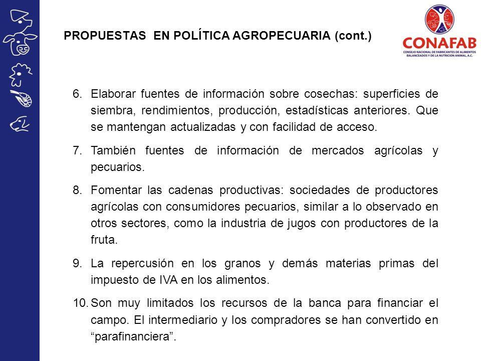 PROPUESTAS EN POLÍTICA AGROPECUARIA (cont.) 6.Elaborar fuentes de información sobre cosechas: superficies de siembra, rendimientos, producción, estadí