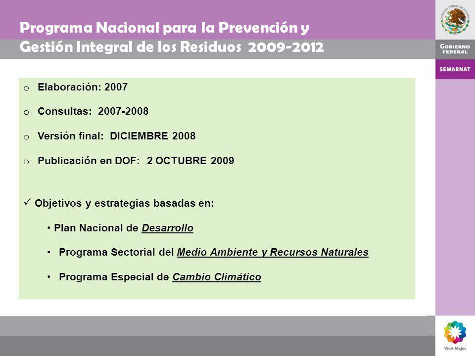 Programa Nacional para la Prevención y Gestión Integral de los Residuos 2009-2012 o Elaboración: 2007 o Consultas: 2007-2008 o Versión final: DICIEMBR