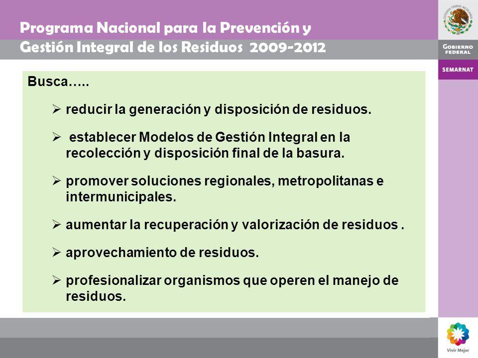 Programa Nacional para la Prevención y Gestión Integral de los Residuos 2009-2012 Busca….. reducir la generación y disposición de residuos. establecer