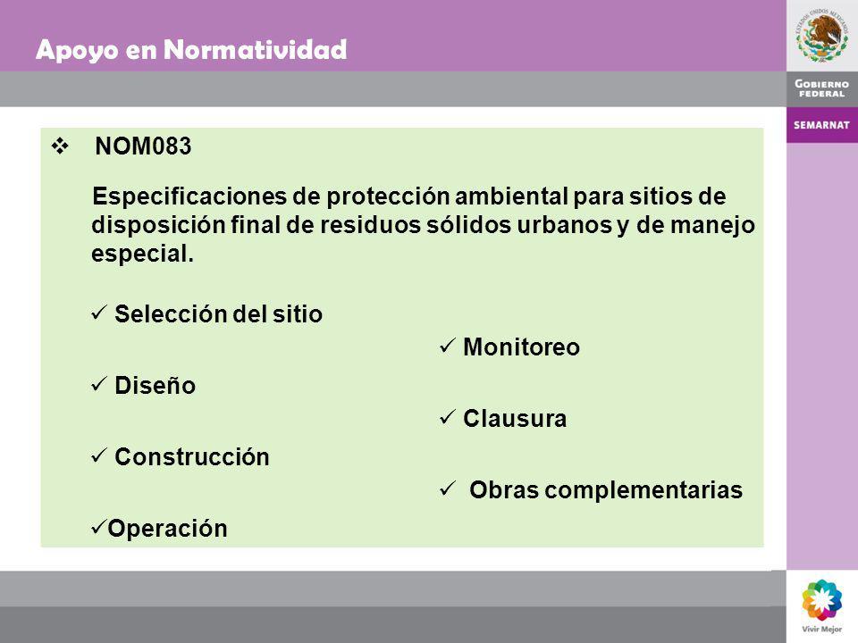 Apoyo en Normatividad NOM083 Especificaciones de protección ambiental para sitios de disposición final de residuos sólidos urbanos y de manejo especia