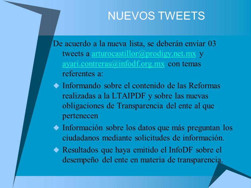 NUEVOS TWEETS De acuerdo a la nueva lista, se deberán enviar 03 tweets a arturocastillor@prodigy.net.mx y ayari.contreras@infodf.org.mx con temas referentes a:arturocastillor@prodigy.net.mx ayari.contreras@infodf.org.mx Informando sobre el contenido de las Reformas realizadas a la LTAIPDF y sobre las nuevas obligaciones de Transparencia del ente al que pertenecen Información sobre los datos que más preguntan los ciudadanos mediante solicitudes de información.