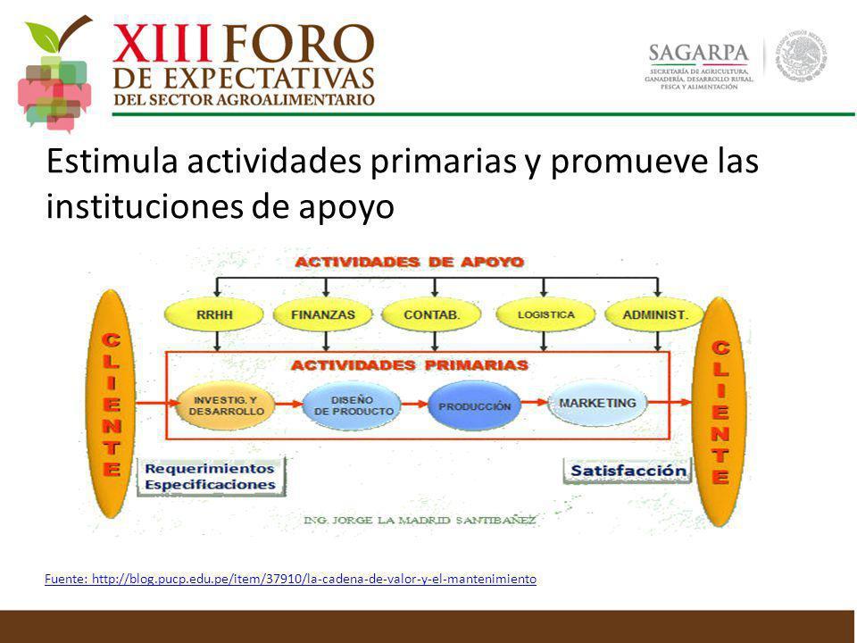 Estimula actividades primarias y promueve las instituciones de apoyo Fuente: http://blog.pucp.edu.pe/item/37910/la-cadena-de-valor-y-el-mantenimiento