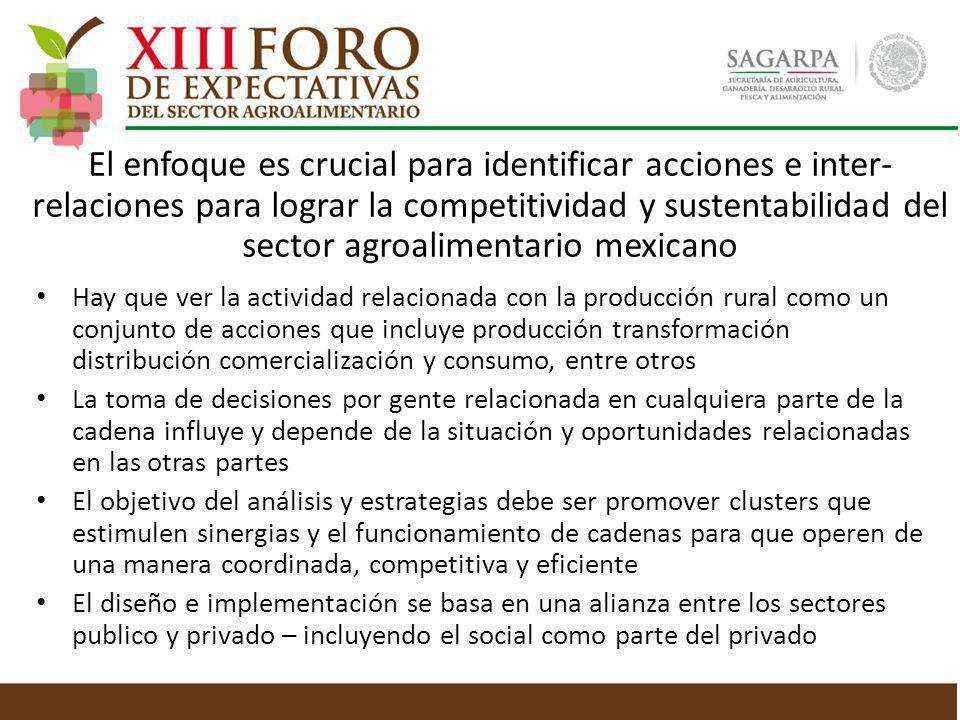 El enfoque es crucial para identificar acciones e inter- relaciones para lograr la competitividad y sustentabilidad del sector agroalimentario mexican