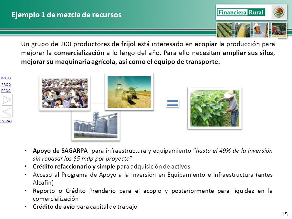 INICIO PROG PROD ESTRAT Apoyo de SAGARPA para infraestructura y equipamiento hasta el 49% de la inversión sin rebasar los $5 mdp por proyecto Crédito