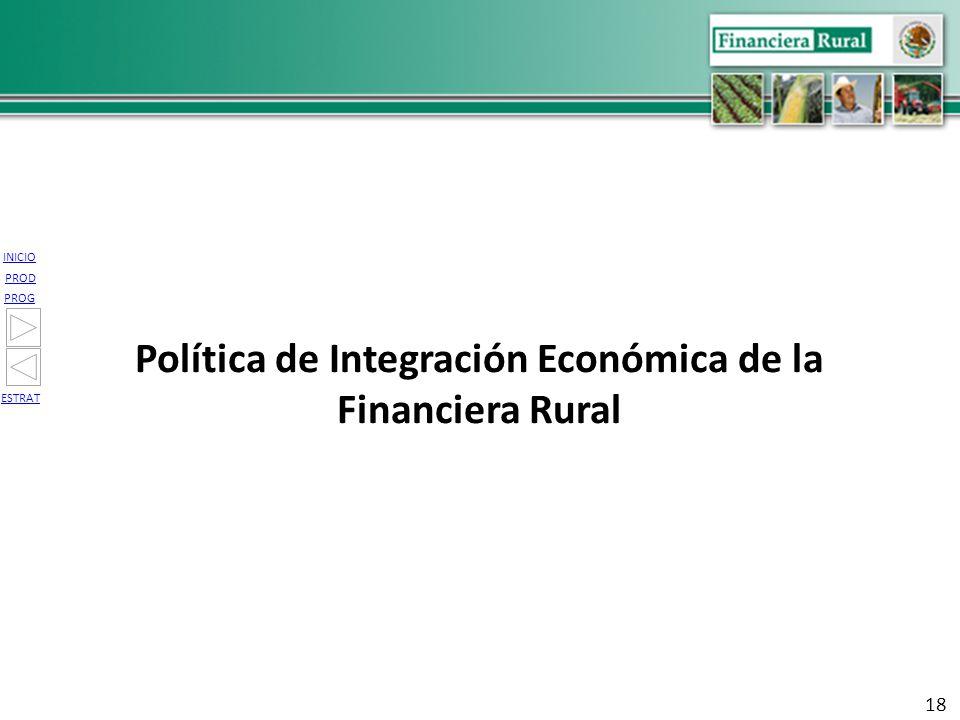 INICIO PROG PROD ESTRAT Política de Integración Económica de la Financiera Rural 18