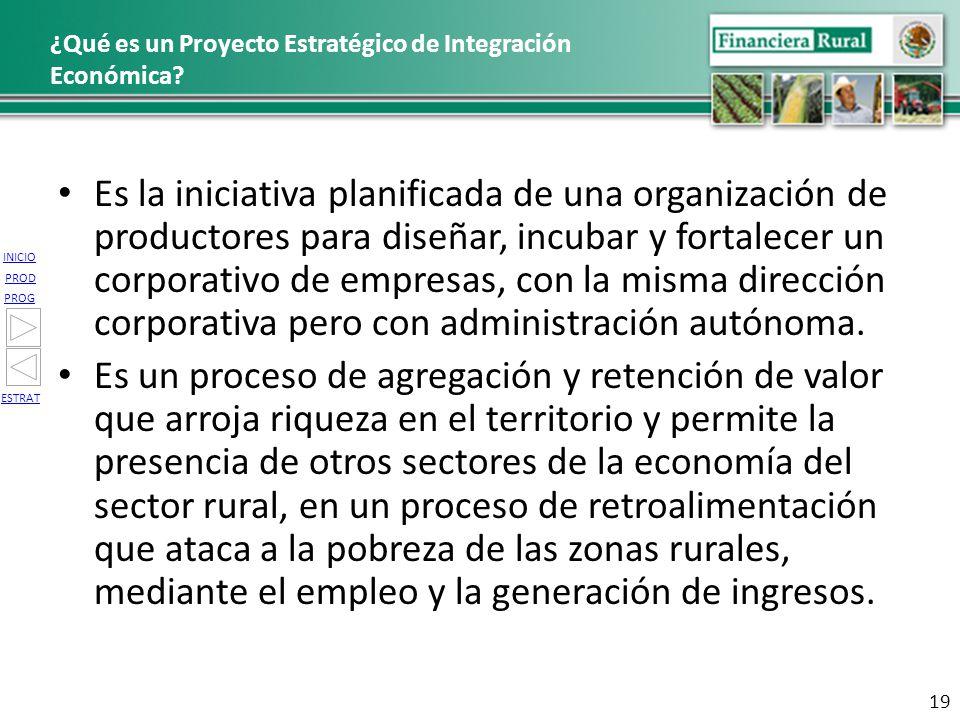 INICIO PROG PROD ESTRAT ¿Qué es un Proyecto Estratégico de Integración Económica? Es la iniciativa planificada de una organización de productores para