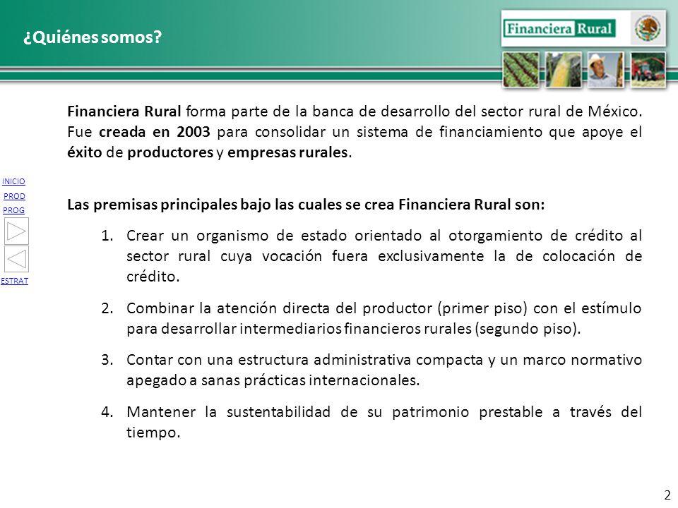 INICIO PROG PROD ESTRAT 2 Financiera Rural forma parte de la banca de desarrollo del sector rural de México. Fue creada en 2003 para consolidar un sis
