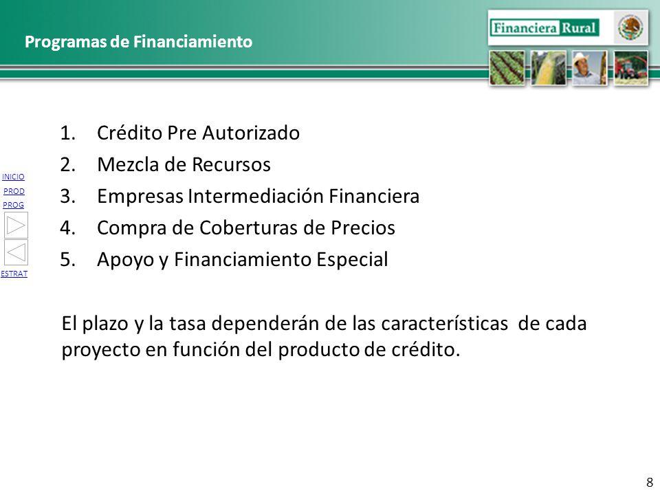 INICIO PROG PROD ESTRAT Programas de Financiamiento 1.Crédito Pre Autorizado 2.Mezcla de Recursos 3.Empresas Intermediación Financiera 4.Compra de Cob