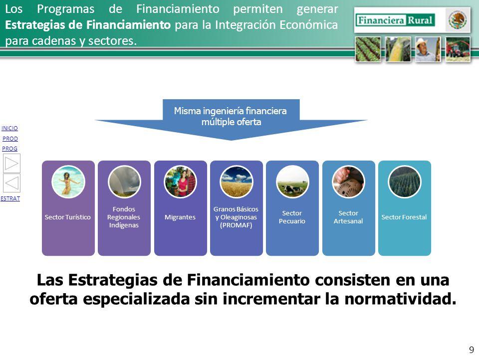 INICIO PROG PROD ESTRAT Sector Turístico Fondos Regionales Indígenas Migrantes Granos Básicos y Oleaginosas (PROMAF) Sector Pecuario Sector Artesanal