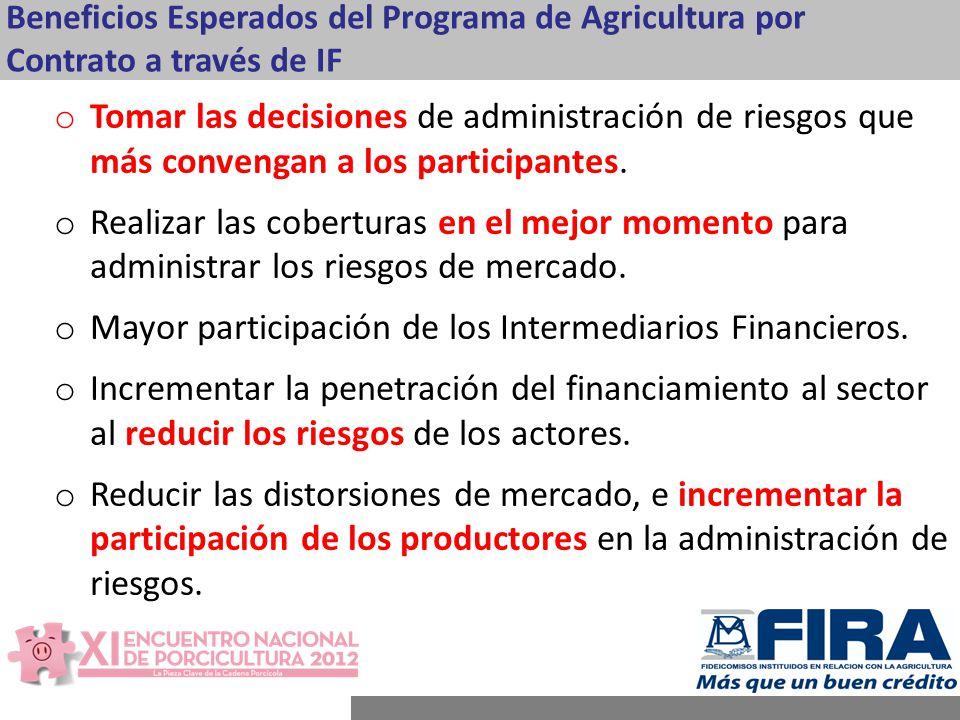 Beneficios Esperados del Programa de Agricultura por Contrato a través de IF o Tomar las decisiones de administración de riesgos que más convengan a los participantes.