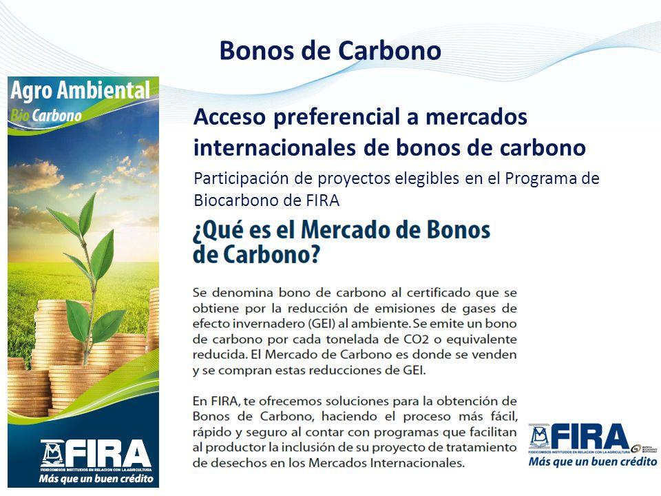 Acceso preferencial a mercados internacionales de bonos de carbono Participación de proyectos elegibles en el Programa de Biocarbono de FIRA Bonos de Carbono