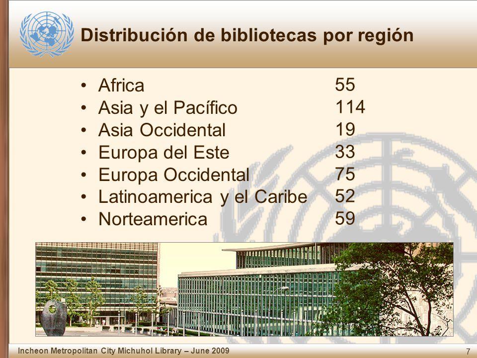 7 Incheon Metropolitan City Michuhol Library – June 2009 Distribución de bibliotecas por región Africa Asia y el Pacífico Asia Occidental Europa del Este Europa Occidental Latinoamerica y el Caribe Norteamerica 55 114 19 33 75 52 59