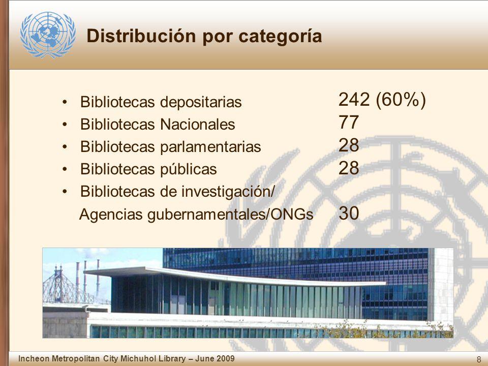 8 Incheon Metropolitan City Michuhol Library – June 2009 Distribución por categoría Bibliotecas depositarias Bibliotecas Nacionales Bibliotecas parlamentarias Bibliotecas públicas Bibliotecas de investigación/ Agencias gubernamentales/ONGs 242 (60%) 77 28 30