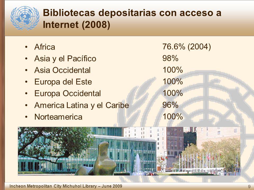 9 Incheon Metropolitan City Michuhol Library – June 2009 Bibliotecas depositarias con acceso a Internet (2008) Africa Asia y el Pacífico Asia Occidental Europa del Este Europa Occidental America Latina y el Caribe Norteamerica 76.6% (2004) 98% 100% 96% 100%