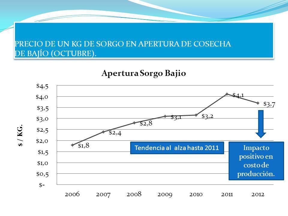 PRECIO DE UN KG DE SORGO EN APERTURA DE COSECHA DE BAJÍO (OCTUBRE). Impacto positivo en costo de producción. Tendencia al alza hasta 2011