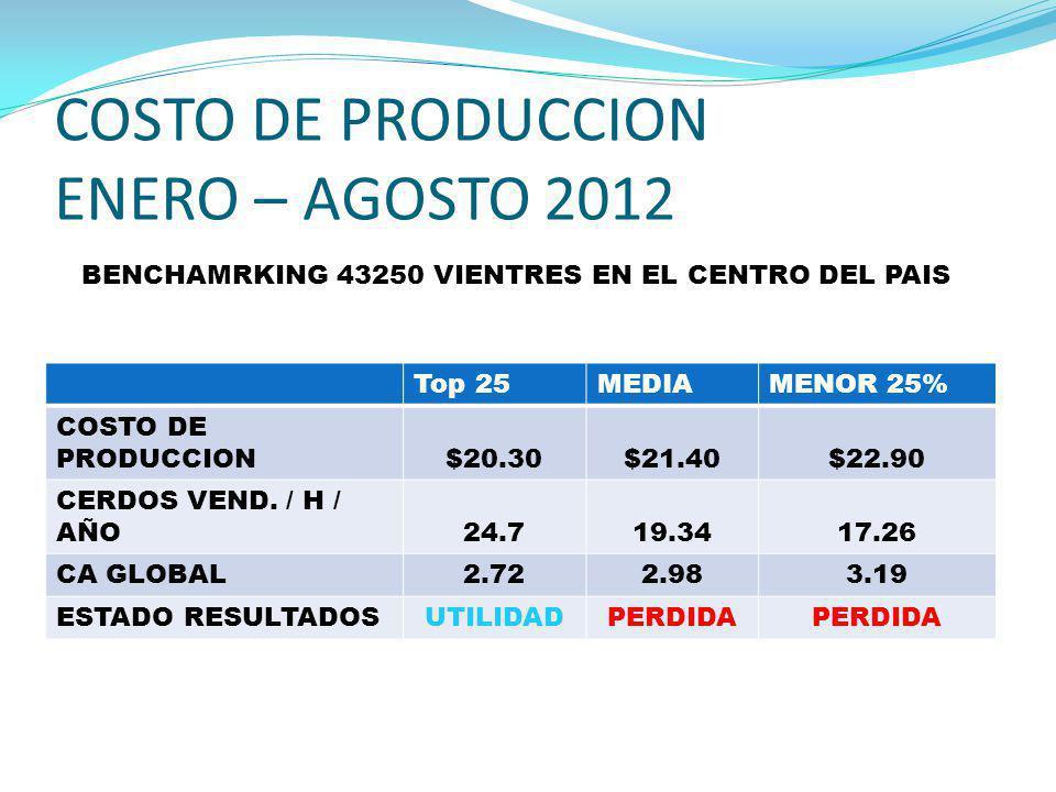 COSTO DE PRODUCCION ENERO – AGOSTO 2012 Top 25MEDIAMENOR 25% COSTO DE PRODUCCION$20.30$21.40$22.90 CERDOS VEND. / H / AÑO24.719.3417.26 CA GLOBAL2.722