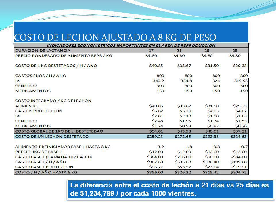 COSTO DE LECHON AJUSTADO A 8 KG DE PESO La diferencia entre el costo de lechón a 21 días vs 25 días es de $1,234,789 / por cada 1000 vientres.