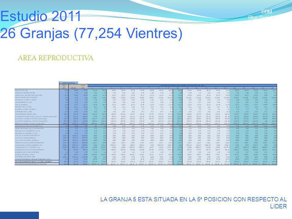 Estudio 2011 26 Granjas (77,254 Vientres) LA GRANJA 5 ESTA SITUADA EN LA 5ª POSICION CON RESPECTO AL LIDER BBM Blue Benchmark AREA REPRODUCTIVA