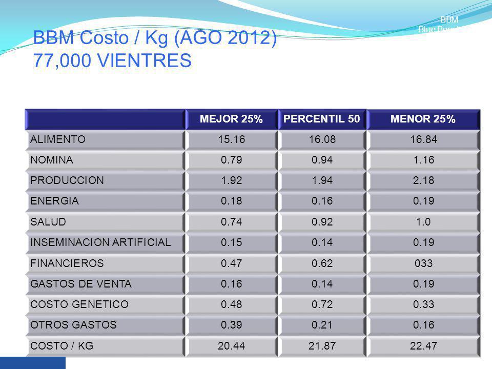 BBM Costo / Kg (AGO 2012) 77,000 VIENTRES MEJOR 25%PERCENTIL 50MENOR 25% ALIMENTO15.1616.0816.84 NOMINA0.790.941.16 PRODUCCION1.921.942.18 ENERGIA0.18
