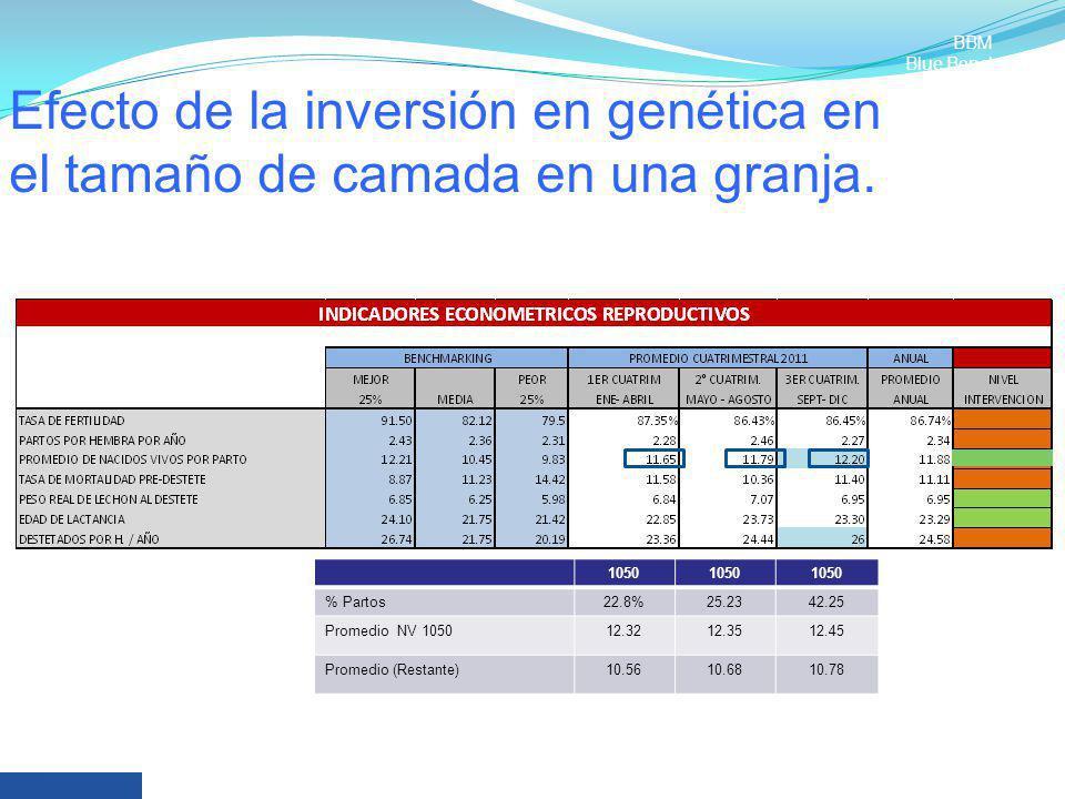 Efecto de la inversión en genética en el tamaño de camada en una granja. 1050 % Partos22.8%25.2342.25 Promedio NV 105012.3212.3512.45 Promedio (Restan