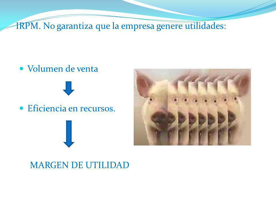 Volumen de venta Eficiencia en recursos. IRPM. No garantiza que la empresa genere utilidades: MARGEN DE UTILIDAD