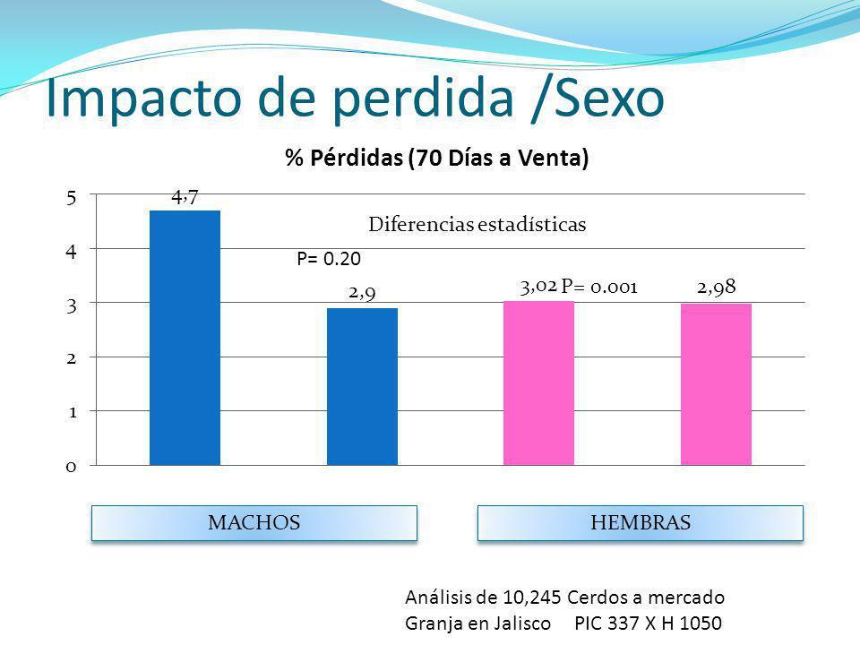 Impacto de perdida /Sexo MACHOS HEMBRAS Análisis de 10,245 Cerdos a mercado Granja en Jalisco PIC 337 X H 1050 P= 0.20 P= 0.001 Diferencias estadístic