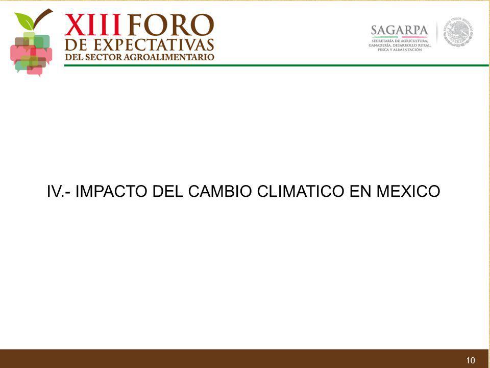 IV.- IMPACTO DEL CAMBIO CLIMATICO EN MEXICO 10