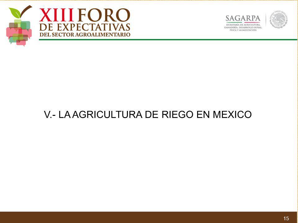 V.- LA AGRICULTURA DE RIEGO EN MEXICO 15