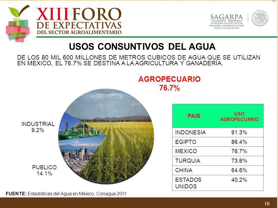 DE LOS 80 MIL 600 MILLONES DE METROS CUBICOS DE AGUA QUE SE UTILIZAN EN MEXICO, EL 76.7% SE DESTINA A LA AGRICULTURA Y GANADERÍA. USOS CONSUNTIVOS DEL