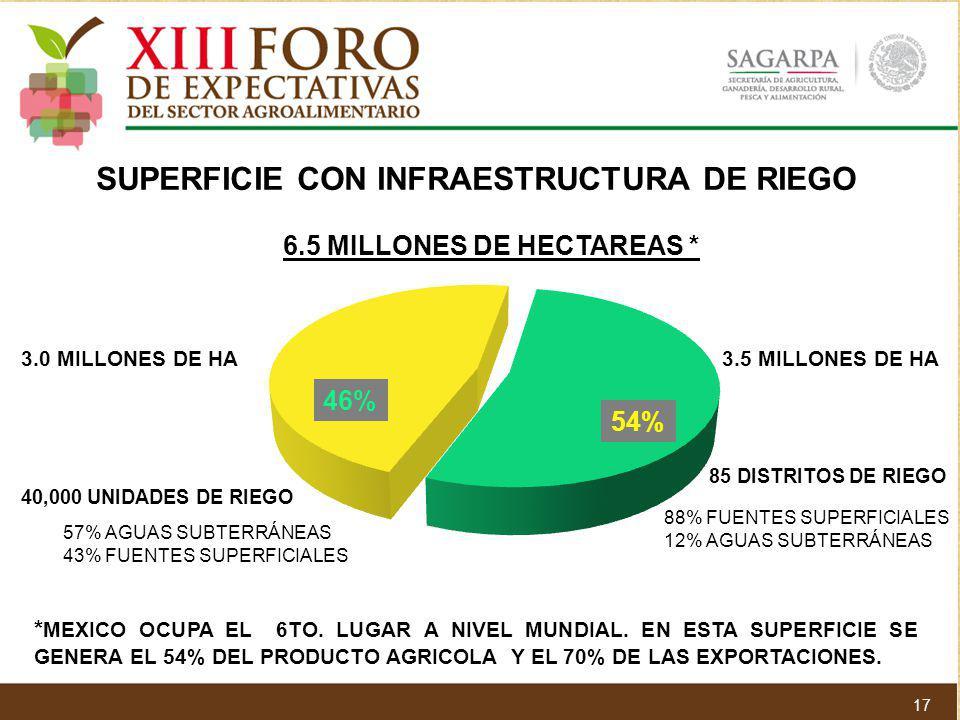 3.0 MILLONES DE HA3.5 MILLONES DE HA 40,000 UNIDADES DE RIEGO 85 DISTRITOS DE RIEGO SUPERFICIE CON INFRAESTRUCTURA DE RIEGO 46% 54% 6.5 MILLONES DE HE