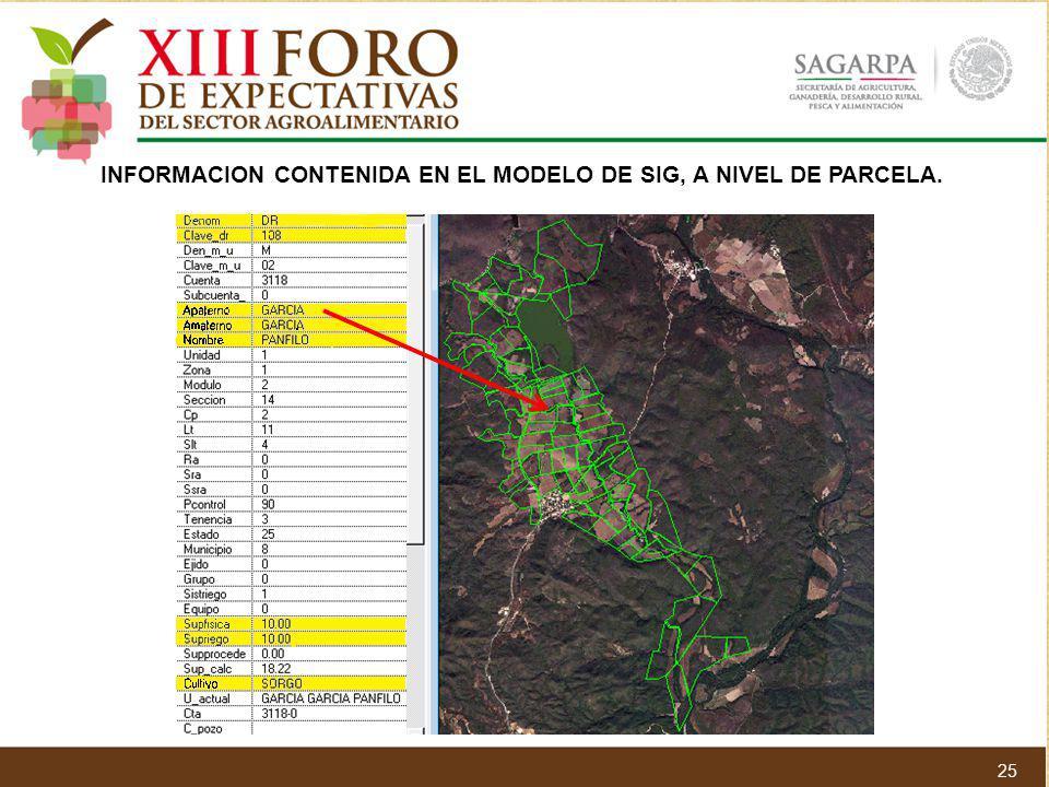 INFORMACION CONTENIDA EN EL MODELO DE SIG, A NIVEL DE PARCELA. 25