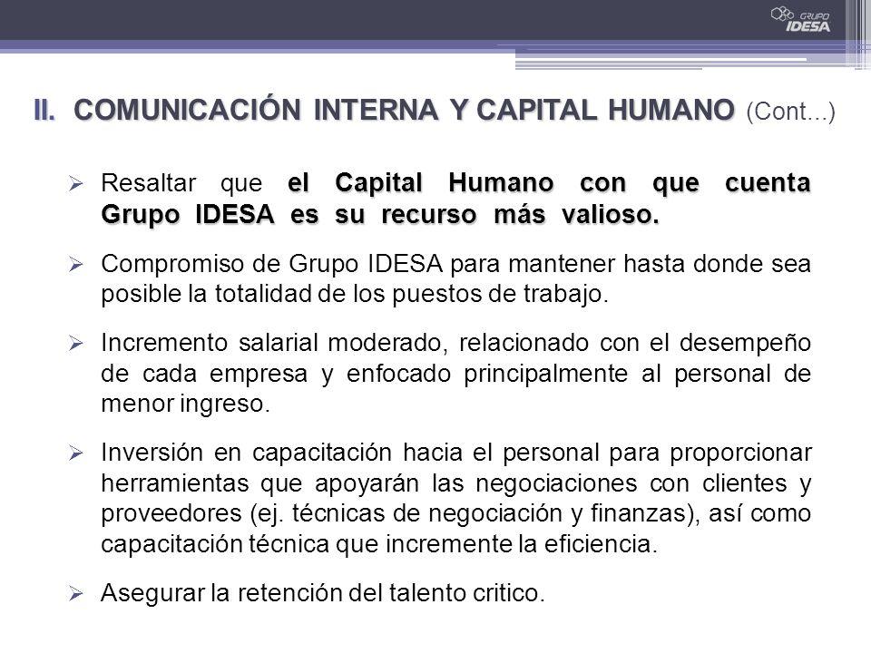 el Capital Humano con que cuenta Grupo IDESA es su recurso más valioso. Resaltar que el Capital Humano con que cuenta Grupo IDESA es su recurso más va