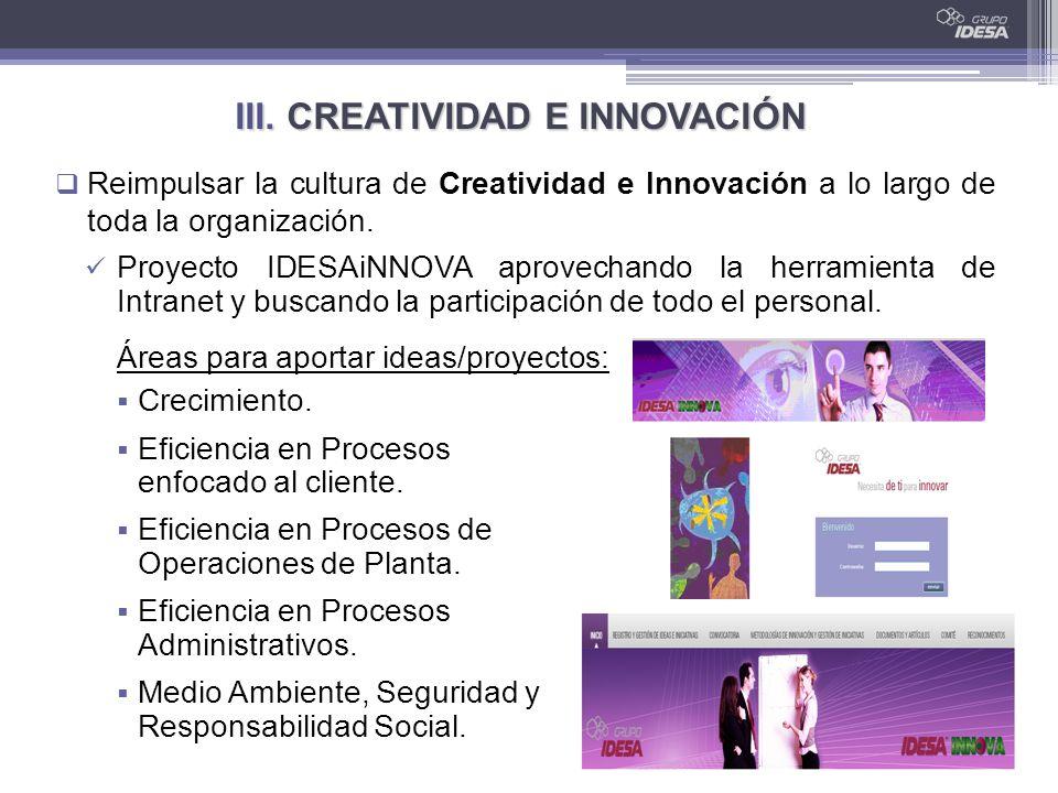 III. CREATIVIDAD E INNOVACIÓN Reimpulsar la cultura de Creatividad e Innovación a lo largo de toda la organización. Crecimiento. Eficiencia en Proceso