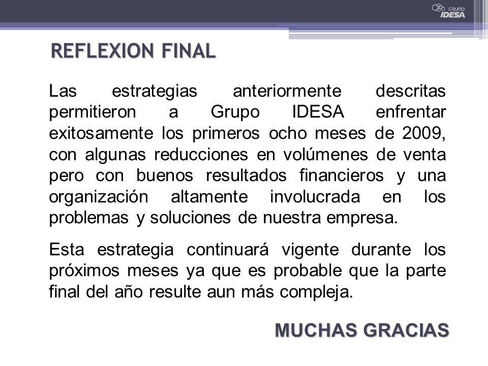 REFLEXION FINAL Las estrategias anteriormente descritas permitieron a Grupo IDESA enfrentar exitosamente los primeros ocho meses de 2009, con algunas