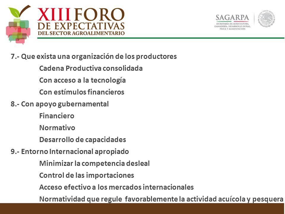 7.- Que exista una organización de los productores Cadena Productiva consolidada Con acceso a la tecnología Con estímulos financieros 8.- Con apoyo gu