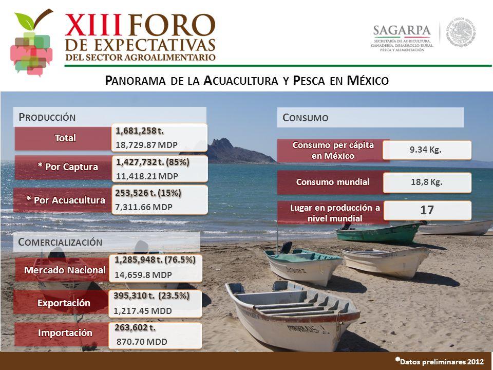 P ANORAMA DE LA A CUACULTURA Y P ESCA EN M ÉXICO 9.34 Kg. 18,8 Kg. 17 P RODUCCIÓN C ONSUMO C OMERCIALIZACIÓN