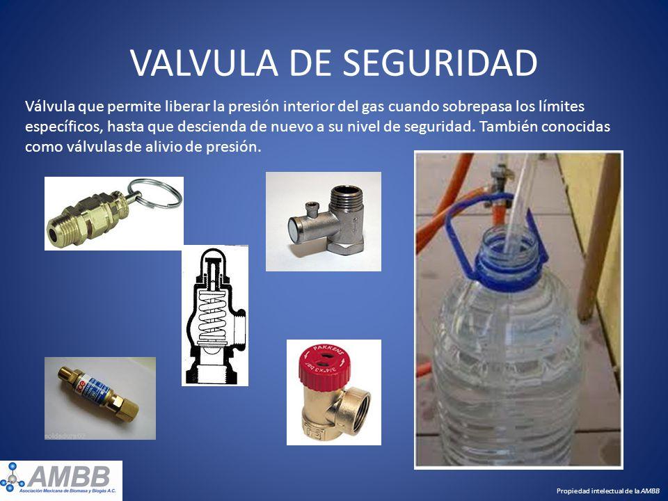VALVULA DE SEGURIDAD Válvula que permite liberar la presión interior del gas cuando sobrepasa los límites específicos, hasta que descienda de nuevo a
