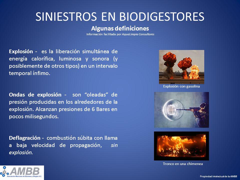 SINIESTROS EN BIODIGESTORES Algunas definiciones Información facilitada por AquaLimpia Consultores Explosión - es la liberación simultánea de energía