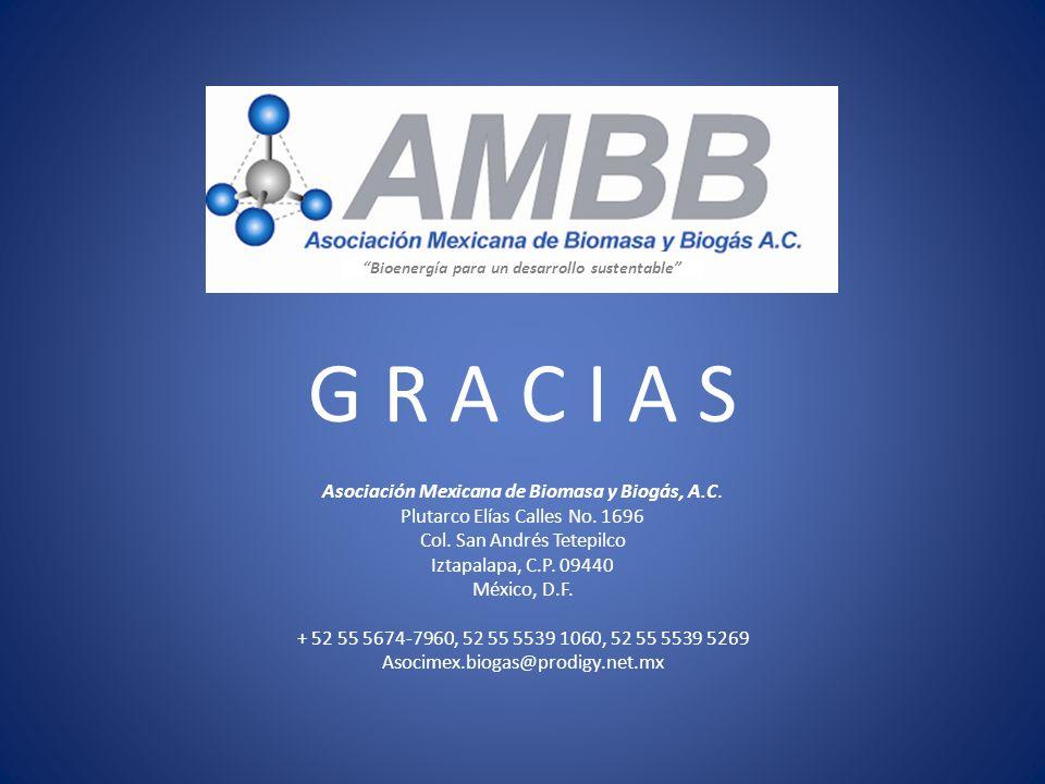 Bioenergía para un desarrollo sustentable G R A C I A S Asociación Mexicana de Biomasa y Biogás, A.C. Plutarco Elías Calles No. 1696 Col. San Andrés T