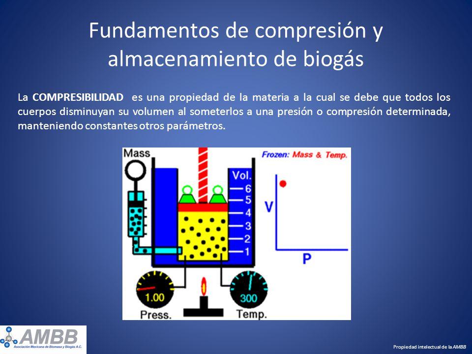 Fundamentos de compresión y almacenamiento de biogás Propiedad intelectual de la AMBB La COMPRESIBILIDAD es una propiedad de la materia a la cual se d