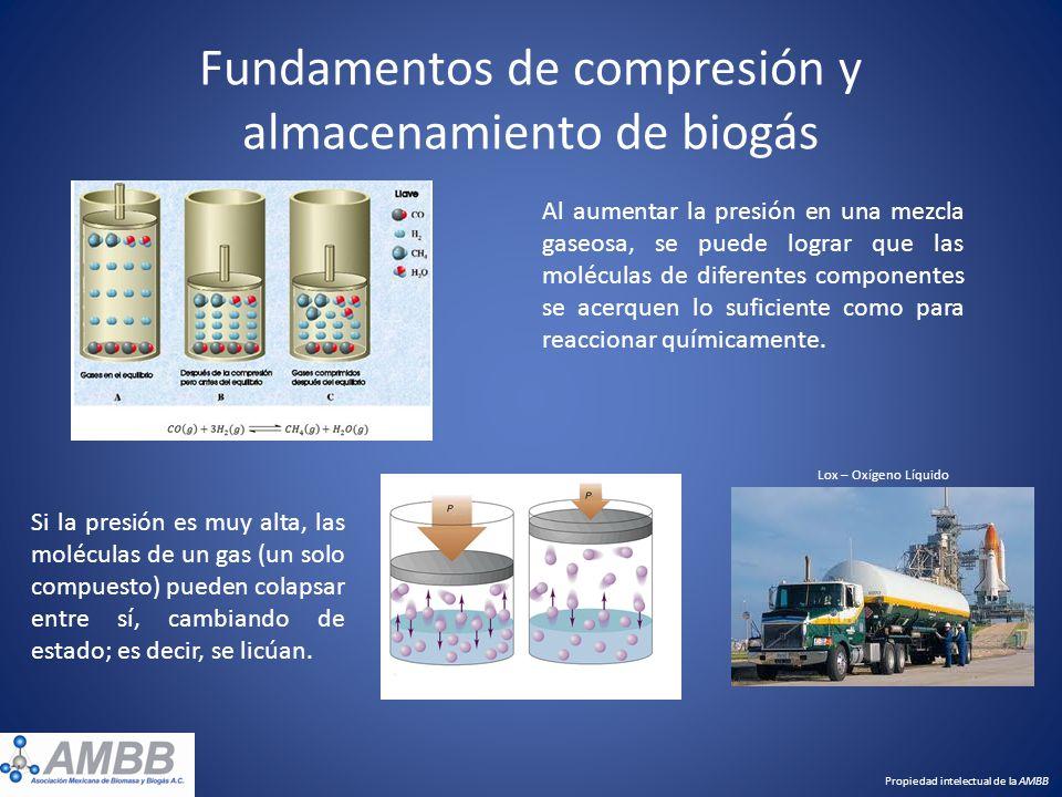 Fundamentos de compresión y almacenamiento de biogás Propiedad intelectual de la AMBB Al aumentar la presión en una mezcla gaseosa, se puede lograr qu