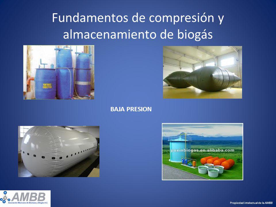 Fundamentos de compresión y almacenamiento de biogás Propiedad intelectual de la AMBB BAJA PRESION