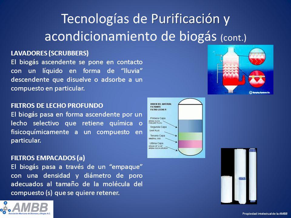 Purificación Tecnologías de Purificación y acondicionamiento de biogás (cont.) LAVADORES (SCRUBBERS) El biogás ascendente se pone en contacto con un l