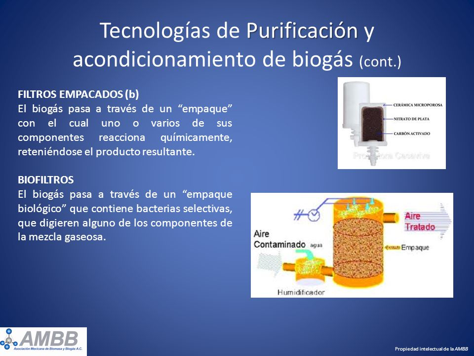 Purificación Tecnologías de Purificación y acondicionamiento de biogás (cont.) FILTROS EMPACADOS (b) El biogás pasa a través de un empaque con el cual