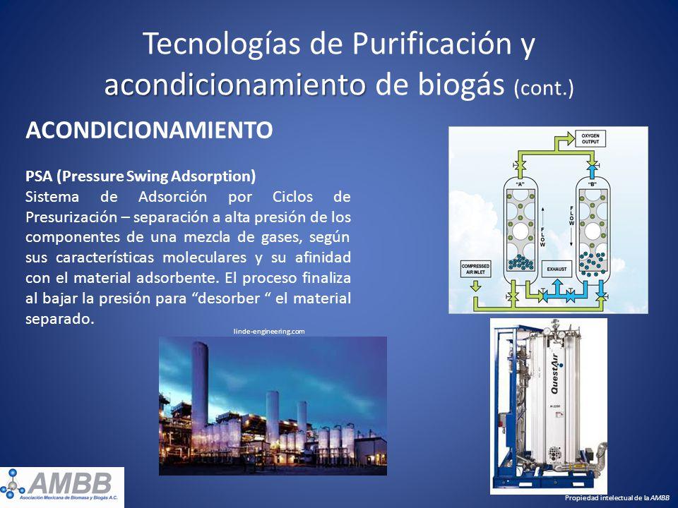 acondicionamiento Tecnologías de Purificación y acondicionamiento de biogás (cont.) ACONDICIONAMIENTO PSA (Pressure Swing Adsorption) Sistema de Adsor