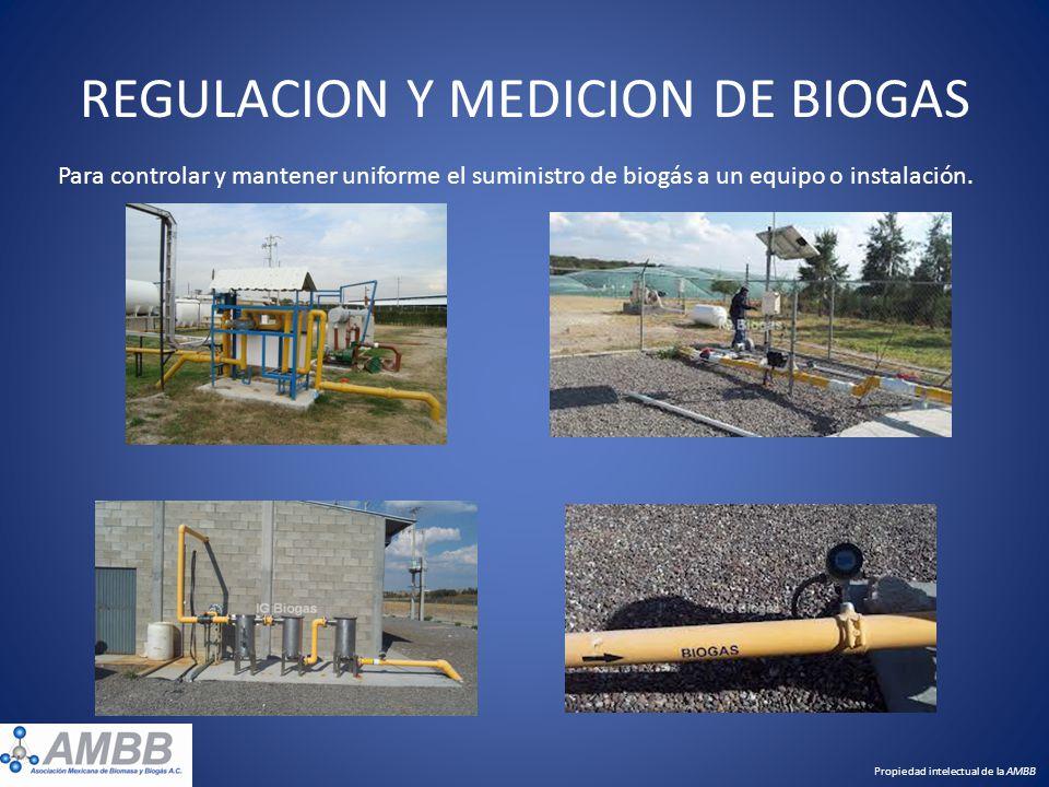 REGULACION Y MEDICION DE BIOGAS Para controlar y mantener uniforme el suministro de biogás a un equipo o instalación. Propiedad intelectual de la AMBB