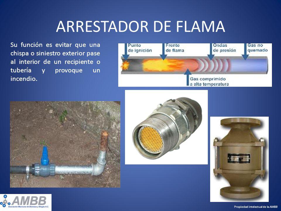 ARRESTADOR DE FLAMA Su función es evitar que una chispa o siniestro exterior pase al interior de un recipiente o tubería y provoque un incendio. Propi