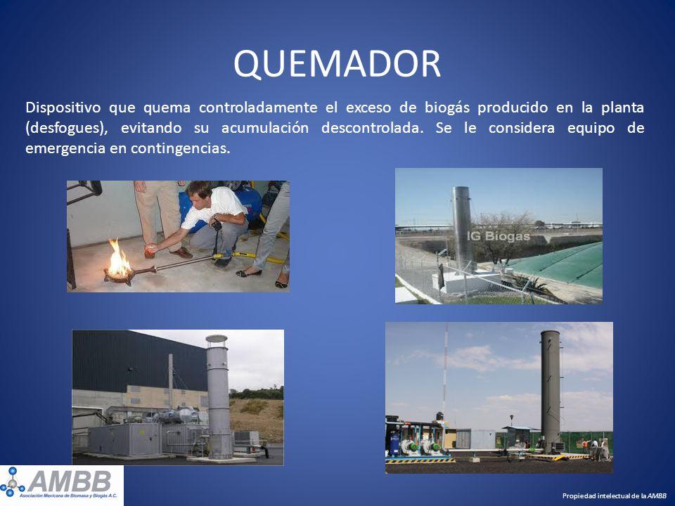 QUEMADOR Dispositivo que quema controladamente el exceso de biogás producido en la planta (desfogues), evitando su acumulación descontrolada. Se le co