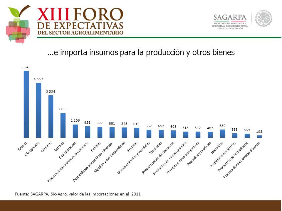 …e importa insumos para la producción y otros bienes Fuente: SAGARPA, Sic-Agro, valor de las importaciones en el 2011