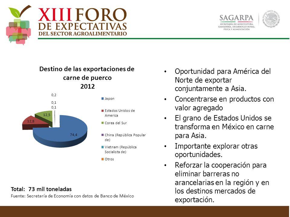 Oportunidad para América del Norte de exportar conjuntamente a Asia. Concentrarse en productos con valor agregado El grano de Estados Unidos se transf